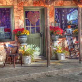 The Shop by Japie Scholtz - City,  Street & Park  Markets & Shops ( shop, chair, flower, pavement, Chair, Chairs, Sitting )