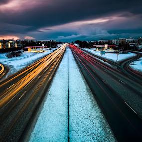 Traffic by Páll Jökull Pétursson - City,  Street & Park  Street Scenes ( lights, reykjavík, urban, kringlan, houses, iceland, winter, street, snow, night, lines, longexposure,  )