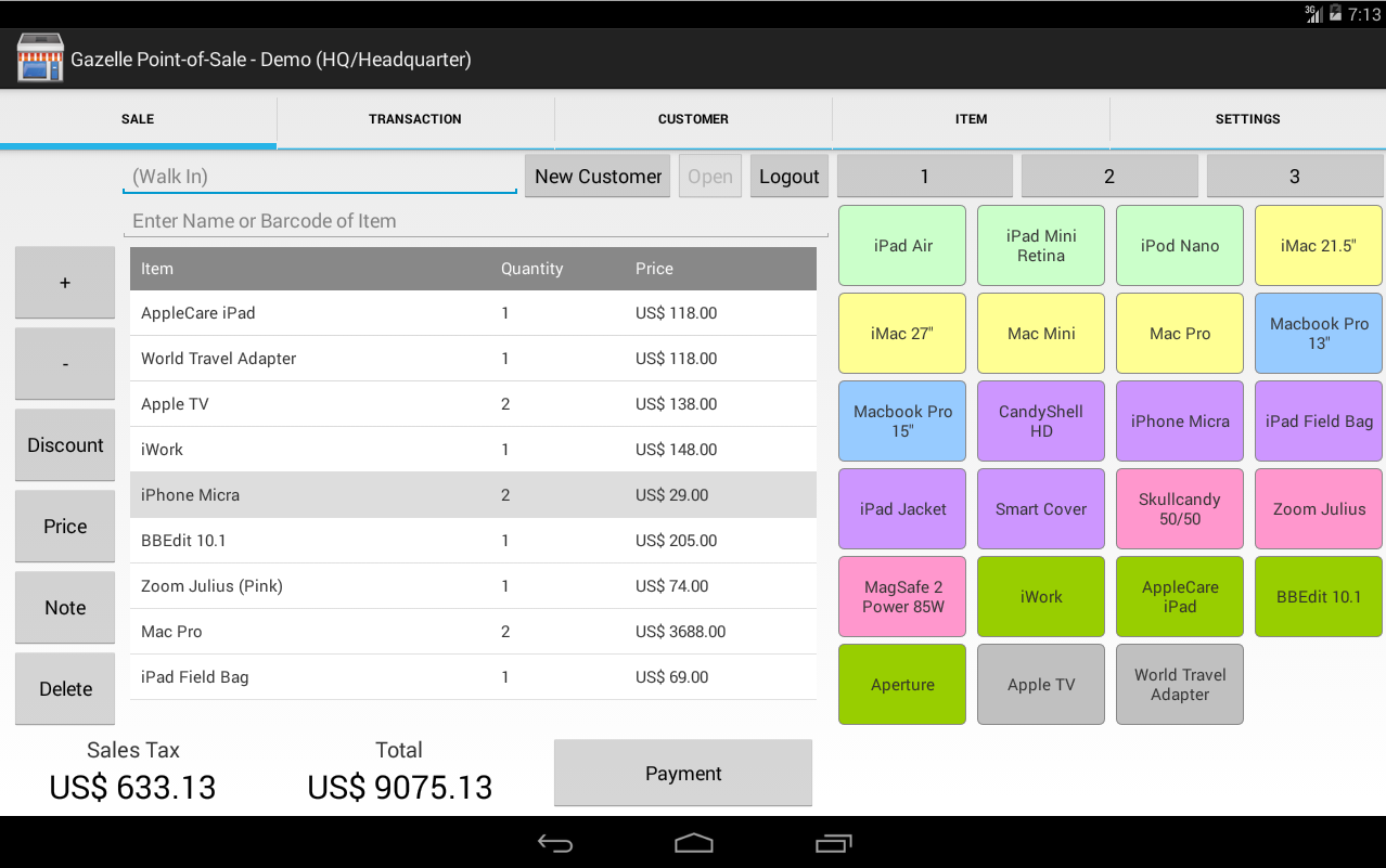 Gazelle POS for Android Tablet- screenshot