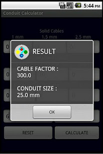 Conduit size calculator bs7671 apps on google play screenshot image greentooth Gallery
