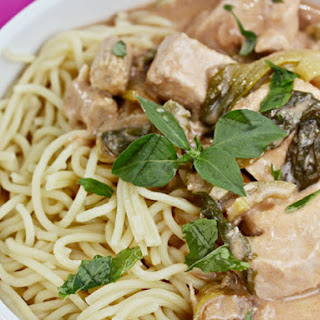 Peanut Chicken and Chinese Egg Noodles with Baby Bok Choy and Baby Corn.