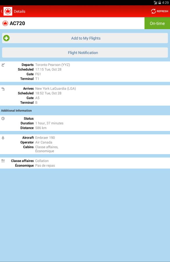 Air Canada- screenshot