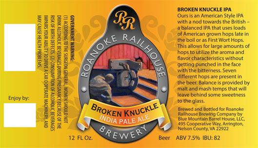 Broken Knuckle from Roanoke Railhouse Brewing Co