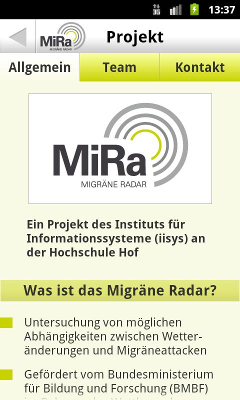 Migräne Radar - screenshot
