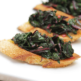 Spicy Beet-green Crostini