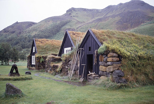 Turf houses in rural Iceland.