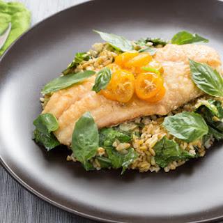 Crispy Catfish & Cracked Freekeh with Kumquat, Thai Basil & Chile Glaze