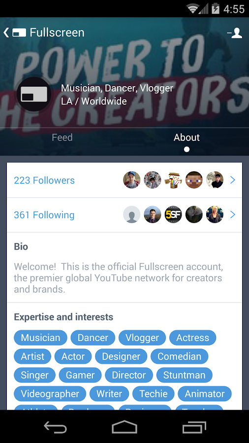 Fullscreen Creator Platform - screenshot