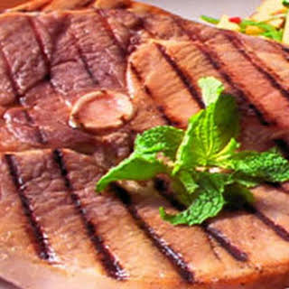 Grilled Ham Steak with Peach Fresca.