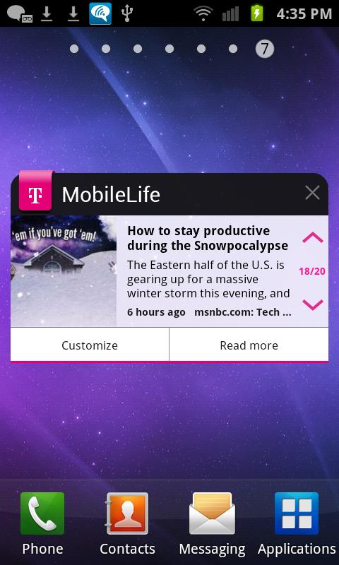 MobileLife Widget for Phones - screenshot
