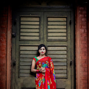 Women in Traditional wear  by Sharier Shuvho - People Portraits of Women ( potrait, bangladesh, traditiona, sari, red saree, photography )