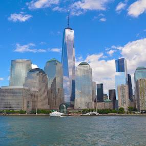 Manhattan by Jamie Tambor - City,  Street & Park  Skylines ( manhattan skyline, new york skyline, manhattan, new york city, freedom tower )