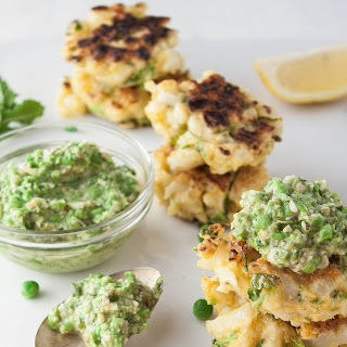Cauliflower Fritters with Mint & Pea Spread.
