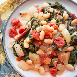 Swiss Chard & White Bean Stew with Onions & Tomatoes.