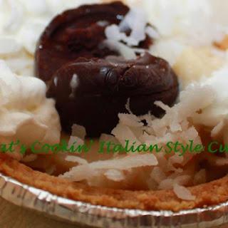 Coconut Cream Tarts with Godiva Chocolate Truffle.