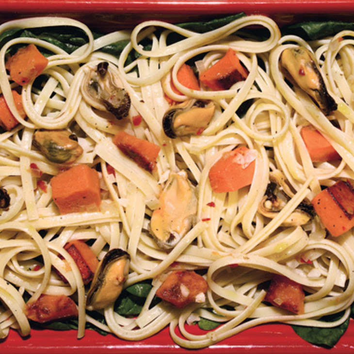 Linguine with Butternut Squash, Spinach, and Mussels