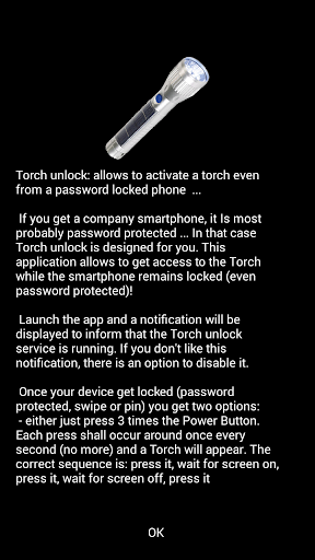 Torch Unlock power button