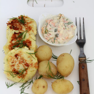 Fiskefrikadeller or Danish Cod Fritters with Remoulade Sauce.