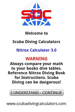 Scuba Nitrox Calculator - screenshot