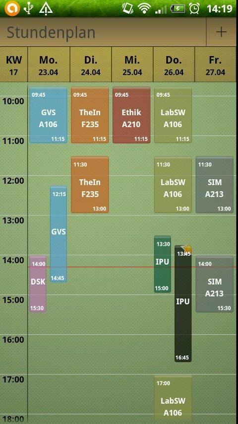 Study timetable - screenshot