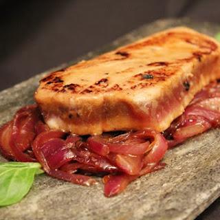 Tuna Steak with Caramelized Onion in Teriyaki Sauce.