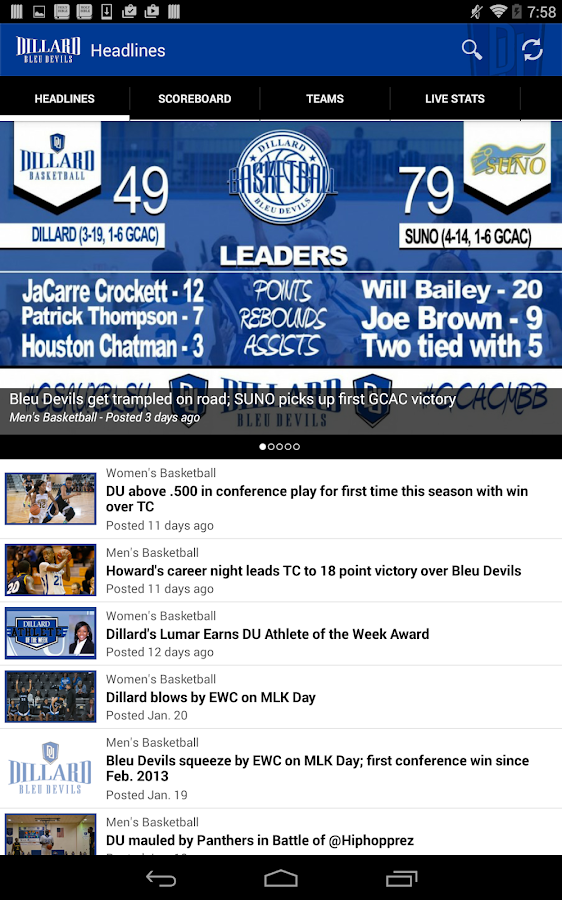 Dillard University Athletics- screenshot
