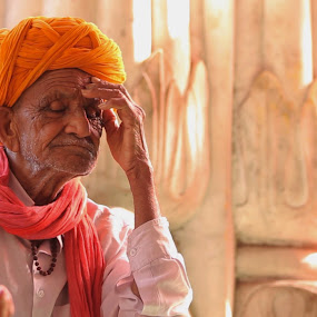 Reflecting on a Lifetime by Romney Olsen - People Street & Candids ( old, colorful, turban, india, holi, tan, man, , Travel, People, Lifestyle, Culture )