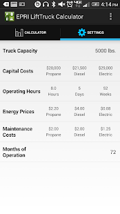 EPRI Lift Truck Calculator- screenshot thumbnail