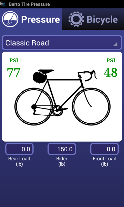 Bicycle Tire Pressure Calc - screenshot