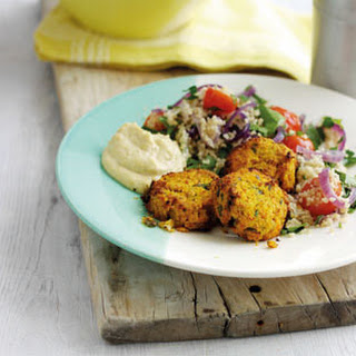 Sweet Potato Falafel With Tomato Couscous.