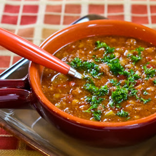 Spicy Sausage, Lentil, and Tomato Soup.