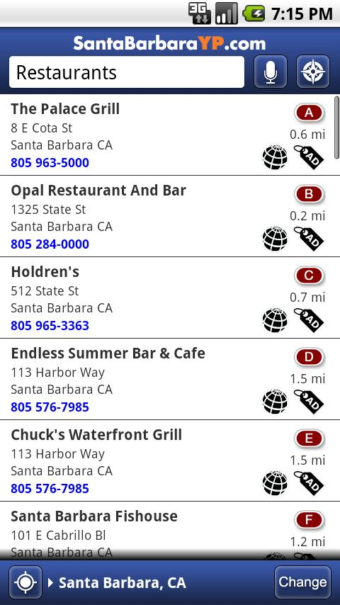 Santa Barbara Yellow Pages- screenshot