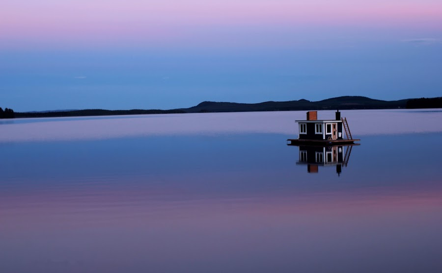 Tranquility by Erika Lorde - Landscapes Waterscapes ( midnightsun, water, sweden, arcticcircle, purple, lake, sauna, boat, creativity, lighting, art, artistic, mood factory, lights, color, fun )