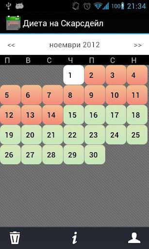 Диета на Скарсдейл - календар