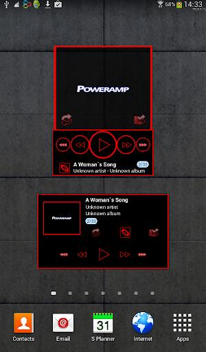Poweramp skin widget TRON RED