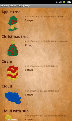 Building bricks step-by-step