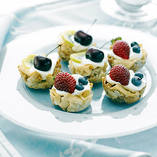 Cinnamon Filo Nests with Cream and Fruit.