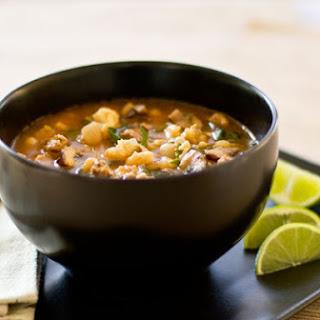 Chorizo, Mushroom and Posole (Hominy) Soup.