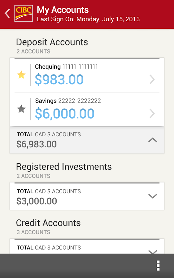 CIBC Mobile Banking® - screenshot
