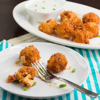 Fried Pimiento Cheese Balls with Ranch Dipping Sauce.