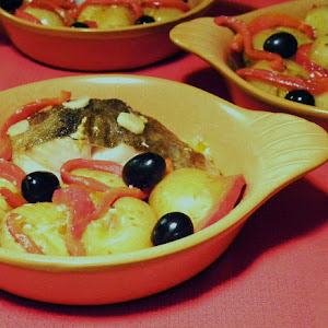 Baked Codfish with Punched Potatoes and Roasted Peppers