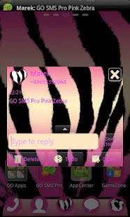 Pink Zebra Theme for GO SMS- screenshot thumbnail