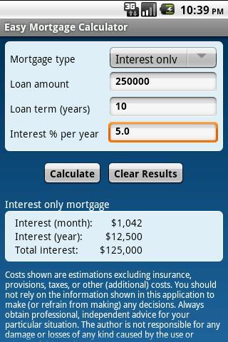 Easy Mortgage Calculator - screenshot
