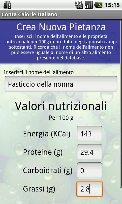 Conta Calorie Italiano DEMO - screenshot