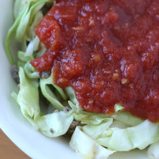 Cabbage Ribbons with Sausage and Thyme Marinara Sauce