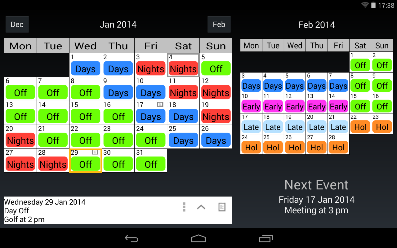 Shift Work Calendar - screenshot