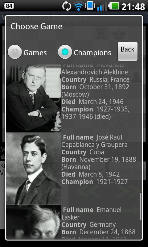 World Chess Champions- screenshot