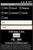 Screenshot of 0-60 Mph Calculator