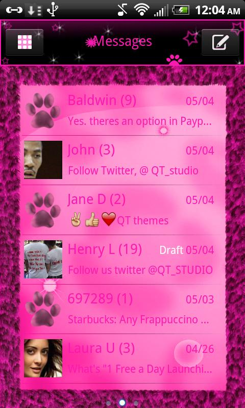 SMS Pink Leopard theme Stars - screenshot