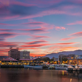 Hobart Sunset by Matt Green - Landscapes Sunsets & Sunrises ( colour, d800, sunset, boats, hobart, nikon, dock, water, device, transportation )